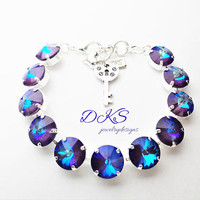 Ultra Purple AB, Swarovski 12mm Bracelet, Silver, Jewelry Gifts, Crystal, DKSJewelrydesigns, FREE SHIPPING