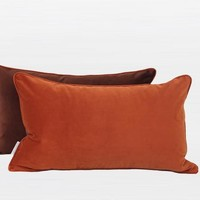 """Orange And Brown Two Color Flannel Fabric Pillow 12""""X20"""""""