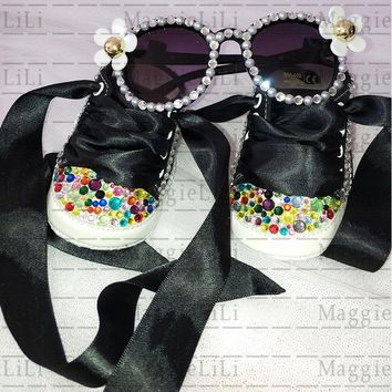 Baby's Sets sunglasses and shoes Bling diamond Party Baptism Kids Baby Girls Shoes Rhinestone Canvas ribbon Shoes First Walker