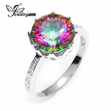 4.3ct Rainbow Fire Mystic Topaz Round Concave Cut Genuine Solid 925 Sterling Silver Ring Antique Fashion New Gem stone Jewelry