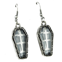 Antique Silver Finish Coffin Earrings Catacomb Cemetery Jewelry Cosplay