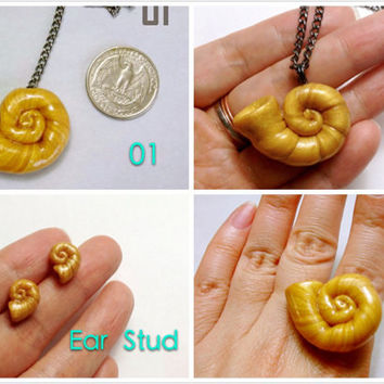 GUO GUO'S- Handmade polymer clay Ursula Inspired Gold Sea Shell Necklace / Key chain / Ear Stud / Ring / Brooch / Made to order