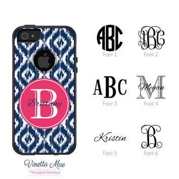 Otterbox Commuter Apple iPhone 5 5s Personalized Cell Phone Case Custom Color Ikat Initial Circle Name Initial Monogram Hard Cover OB-1076