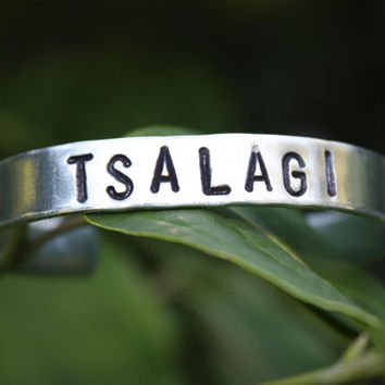 TSALAGI (Cherokee) Hand Stamped Cuff - Native American Inspired - Aluminum Bracelet - Tribal Name Cuff - Gift For Her - Gift For Him