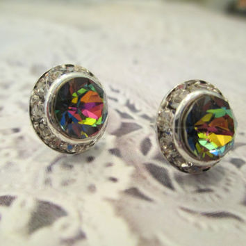 swarovski 8mm crystal stud earrings. rainbow Emily dazzlers #306