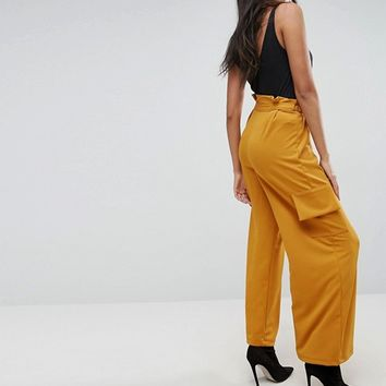 ASOS Utility Wide Leg Trouser with Paperbag waist at asos.com