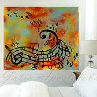 Music notes painting, Abstract music art print, Musical notes wall decor, teenage gift, Kids room decor, Print on Canvas, Music Large Art,