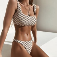 2 Two Piece Bikini Women Push Up Plaid Bikini Set 2018 High Waist Swimwear Bandeau Swimming Suits Biquini Two Pieces Swimsuit Sexy Bathing Suit S-L KO_21_2