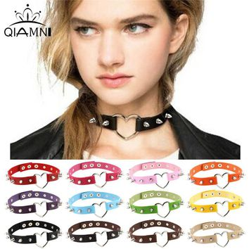 QIMING Harajuku Kawaii Choker Necklace For 90s Girl Vintage Collar Gothic Rivet Belt Leather Heart Sexy Necklace Women Jewelry