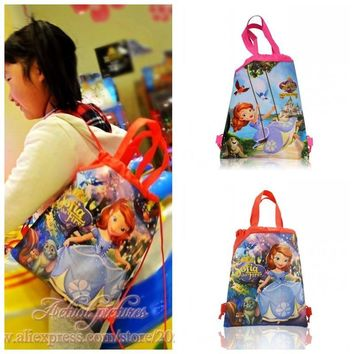 1PCS Sofia the First Princess Drawstring Backpacks School Shopping Bags 34*27CM Non Woven Fabrics Kids Birthday Party Best Gift