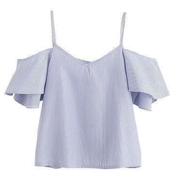 Womens Casual Blouses Shirts Tops Ladies Blue Pinstripe Cute Ruffle Slip Short Sleeve Cold Shoulder Fashion V Top
