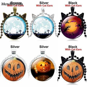 Mendittorosa Luxury Brand Jewelry With Bronze Plated Glass Cabochon Pendant Choker Necklace For Women Party Halloween Pumpkin