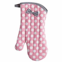 Rosy Pink Polka Dot Vintage Oven Mitt - Retro Kitchen Accessories