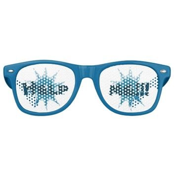 Blue bullet hole. Add your text. Retro Sunglasses