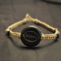 Black and Silver Mike's Hard Lemonade Recycled Bottle Cap Hemp Anklet - stocking stuffer, gifts under 10, gifts under 20