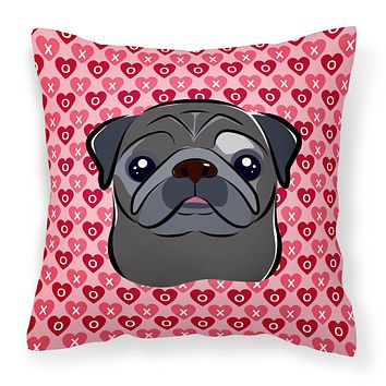 Black Pug Hearts Fabric Decorative Pillow BB5333PW1818