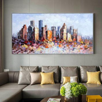 Houston Cityscape oil painting original Palette knife heavy texture Large abstract painting on canvas wall art picture for living room