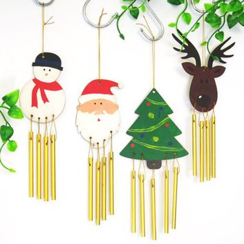 Eco Friendly DIY Wood Chime Christmas Decorations Gifts For Kids Home Christmas Party Decorations Xmas Tree Ornament Kids Gift