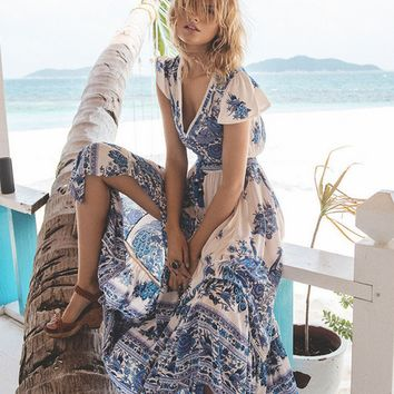 Boho Floral Print Chiffon Slit Dress