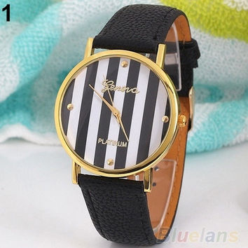 watch, Women's watch,  Men's watch, fashion Classic Stripes Print Leatheroid Analog Quartz Wrist Watches = 1931837444