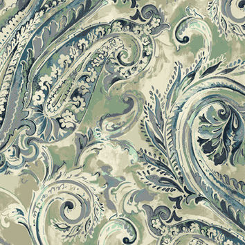 Classic Paisley Wallpaper in Blues, Greens, and Metallic design by Seabrook Wallcoverings
