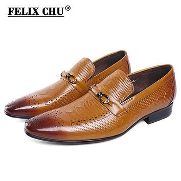 FELIX CHU Gentlemen Genuine Leather Slip On Men Formal Shoes With Metal Button Pointed Toe Business Dress Shoe for Men's Flat