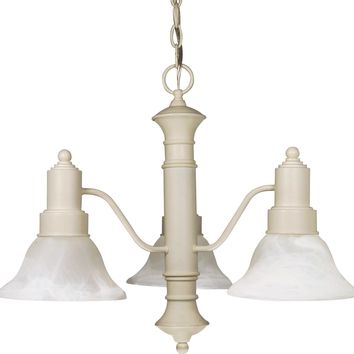 Textured White Chandelier with Alabaster Glass Bell Shades