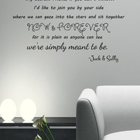 We're Simply Meant To Be- Jack and Sally Skellington lyrics Wall Decal 34x20