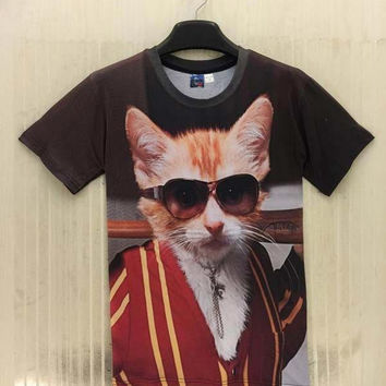 Summer tops for men/boy 3d t-shirt funny print glasses cat casual street wear hip hop tshirt tees As