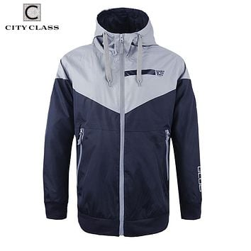 Men Windbreakers Jackets and Coats Light Weight Waterproof Zip Hooded Pilot Casual with Drawstring