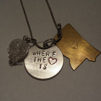 Home is Where the Heart Is / Mississippi Charm Necklace / Hand Stamped Metal