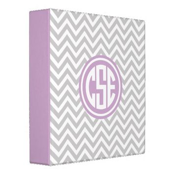 Gray and Lilac Preppy Chevron Circle Monogram Binders