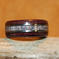 Wood Ring, Antler Ring, Purple Heart and Elk Antler With Wire Inlay
