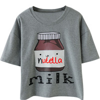 Nutella Milk Bottle Print Short Sleeve Graphic Tee