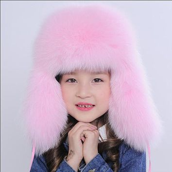 Russia Children Real Fox Fur Hat Boys Girls Warm Ear Winter Fur Hat Solid Bromber Caps Kids Warm Ears Children Kids Hat H#10