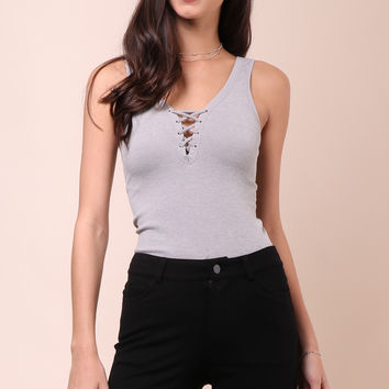 Suzette Ribbed Lace Up Tank