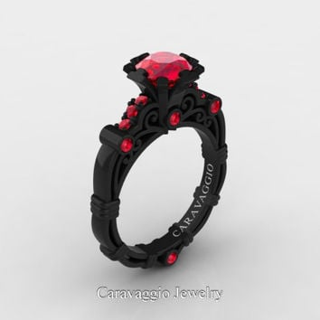 Caravaggio 14K Black Gold 1.0 Ct Ruby Engagement Ring R623-14KBGR