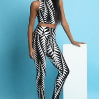 Geo Print Sleeveless Crop Top with High Rise Legging Set