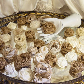 SALE Bulk of 50 Handmade Natural Burlap & Ivory Flowers for weddings, bouquet making, wedding decor, cake toppers,