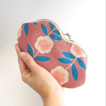 Sunglasses Case, Eyeglass case with silver metal clasp, Frame Clutch Purse- Neon Flower on Pink