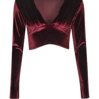 Caroline Velvet Plunge Long Sleeve Crop