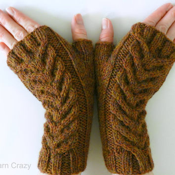 Cable Knit Fingerless Mittens / Gloves / Wrist Wamers // READY TO SHIP // Premium Wool Alpaca Blend Yarn // Fall Fashion Accessories