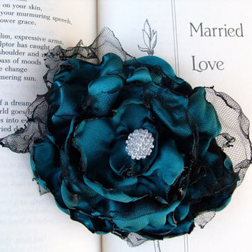 Teal Blue Flower Hair Clip by OurPlaceToNest on Etsy