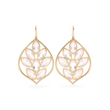 jamie wolf - 18kt yellow gold acorn earrings with marquis- rose quartz
