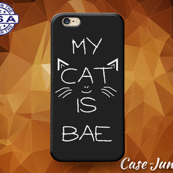 My Cat Is Bae Quote Whiskers Funny Cute Tumblr Rubber Custom Case For iPhone 4 and 4s and iPhone 5 and 5s and 5c and iPhone 6 and 6 Plus +