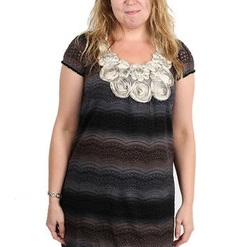 Yumi Grey Lace Wave Dress