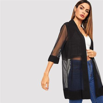 Black Open Front Solid Sheer Mesh Coat Women Casual Basic Three Quarter Length Sleeve Outerwear Long Coat