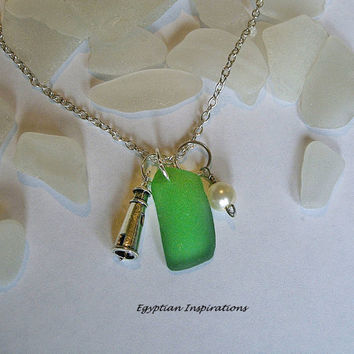 Lighthouse necklace. Sea glass jewelry. Green beach glass necklace.