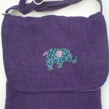 Folk Art Elephant appliquéd Purple wool messenger bag,cross body, adjustable strap, fully lined with one pocket