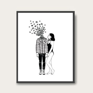 Oh my Dandelion,  Minimal Digital Poster, Wall Art Prints.